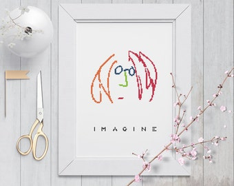 Imagine John Lennon Cross Stitch Pattern