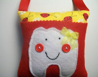 Tooth Fairy Pillow Girls Ladybugs tooth fairy pillow, girls tooth fairy pillow, toothfairy pillow