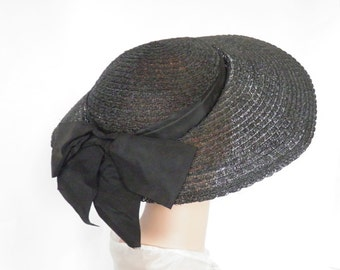 Vintage 1930s hat, black, satin bow, Gone With the Wind style