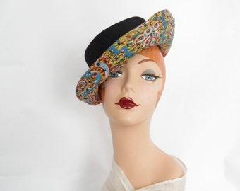 1930s tilt hat, vintage black slouch with colorful underbrim, excellent