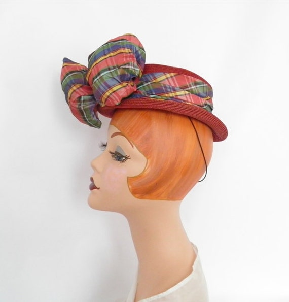Vintage 1930s tilt hat, 1940s red boater with plaid ribbon, toy hat