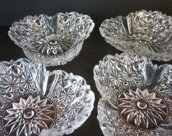 Button and Bows Pressed Glass Stacking Clear Candy Nut Dishes Set of 4