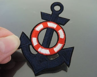 Anchor Patches - Iron on Patches Dark Blue Anchors Patch Applique Embroidered Patch Sew On Patch