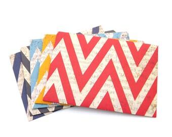 Chevron Envelopes. Party Colorful Envelopes.  Set of 10 - Red, Blue, White, Mustard, Figures, Small Gift Favor Envelopes, Gift Card Envelope