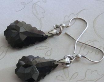 Black Faceted Teardrop Crystal & Sterling Silver Earrings Pierced Dangle Handmade