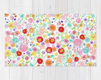Colorful Abstracted Poppy Doodle Drawing Print Woven Rug. Created from my original colorful floral drawings and available in two sizes.
