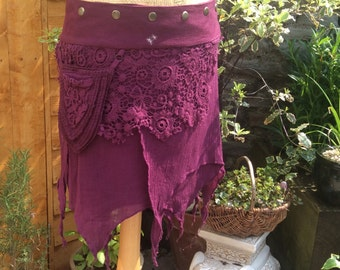 Pointy Pocket Psy Pixie Wrap Skirt, Amethyst Purple, pixie Skirt