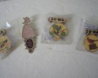 Four Lion's Club Trading Pins, Three are Iowa State Birds and one is Lady Pin.  Vintage.