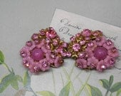 Signed MIRIAM HASKELL Pink Rhinestone & Flower Double Brooch