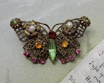 Czech Filigree Gold & Rhinestone Butterfly Brooch