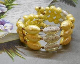 Sunny Yellow & Glitter Bead 3 Row Bracelet    ND26