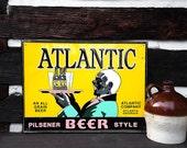 1940's Atlantic Beer Sign, Vintage Ale Beer Pilsner Sign with Early Americana Server; Vintage Industrial Advertisement