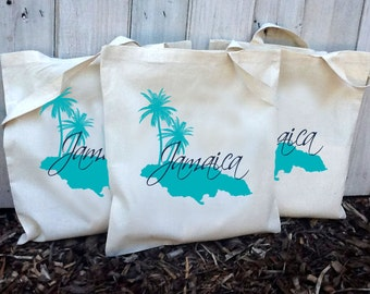 10+ Jamaica Island with Palm Trees Custom Canvas Wedding Tote Bags - Eco-Friendly Natural Cotton Canvas