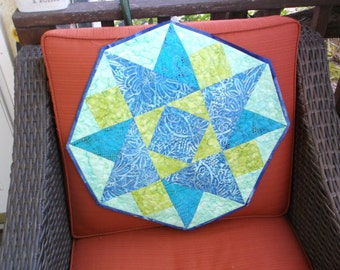 Batik table topper twisted star quilted topper