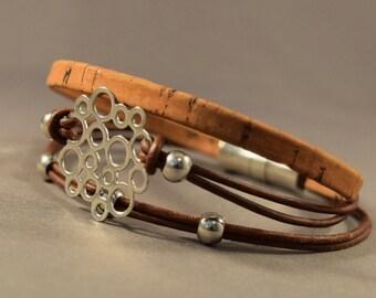 Charm Bracelet-Leather Bracelet-Womens Bracelet-Womens Wrist Bracelet-Brown Bracelet-Charm Bracelet-Friendship Bracelet-Gifts-Wristband