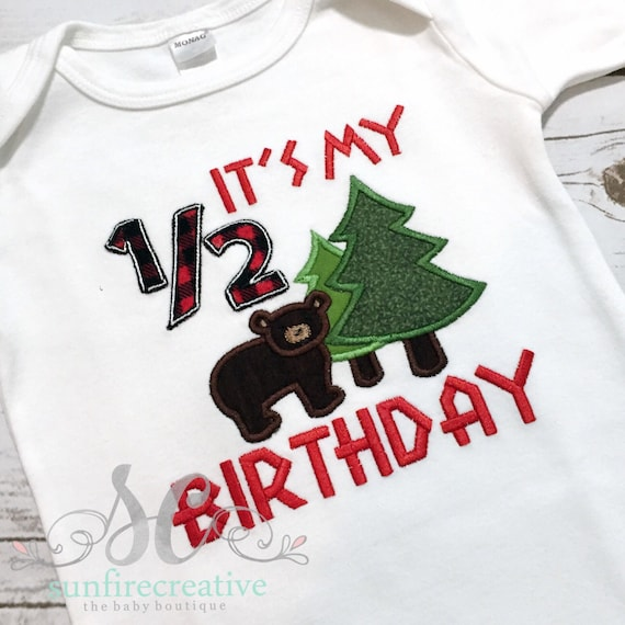 Boy half birthday lumberjack shirt 6 month birthday shirt for 6 month birthday decorations