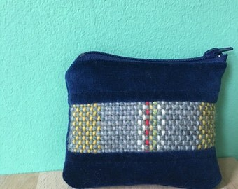Blue Velvet Coin Pouch with Handwoven Wool Design