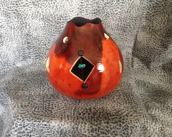 Carved and Dripped Gourd Vase