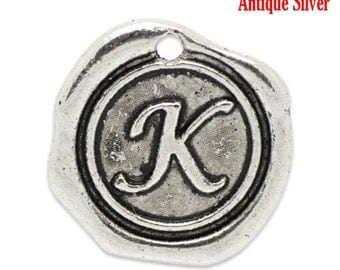 "5pcs. Antique Silver LARGE Letter ""K"" Alphabet Letter - 18mm x18mm - Wax Design"