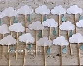 12 Cloud Baby Shower Cupcake Toppers- raindrop Cloud Cupcake Toppers - Food Picks