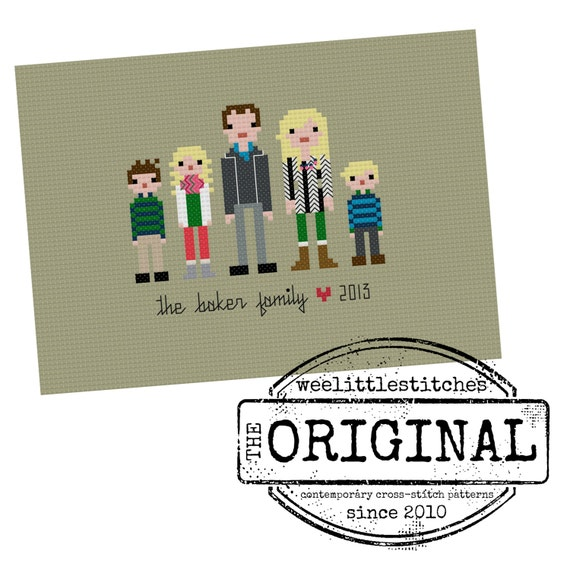 The *Original* FINISHED Custom Pixel People Portrait - Small Family (3-5 people)