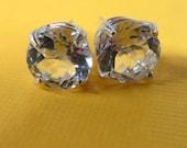 "Clear Topaz Post Earrings - ""Precious Topaz"" 8mm Post Earrings - Sterling Silver and Topaz Earrings"
