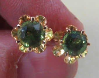 Apatite Post Earrings - Gold-Filled 6mm Green Apatite Earrings - Gold Post Earrings