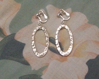 Clip on or Pierced Tibet Silver Textured Silver Oval Earrings