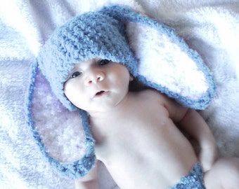 0 to 3m Blue Bunny Hat, Newborn Baby Hat, Bunny Costume, Newborn Bunny Ears, Boy Girl Newborn Hat, Newborn Shower Gift Photo Prop  Baby Gift