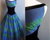 1950s new look green/blue and black velvet tea-length dress new look dress cocktail dress 50s dress 1950s dress