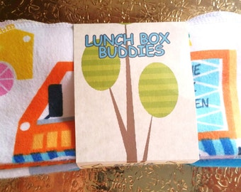 "12~""LUNCH BOX BUDDIES""~Kids Cloth Lunch Box Napkins~~Food Truck Special~Turquoise Lunch Napkins~Unpaper Towels~Tissues~7""x7""~~1 ply"