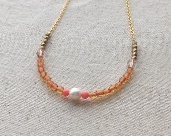 SALE Orange & pink glass bead necklace with pearl on gold plated chain | FREE gift wrapping