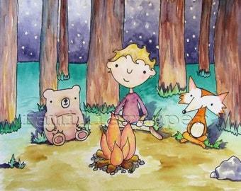 "8x10 Print ""Around the Campfire"""