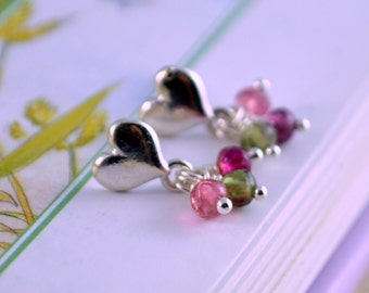 Genuine Tourmaline Earrings, October Birthstone, Real Gemstone, Pink and Green, Sterling Silver, Heart Ear Posts, Childrens Jewelry