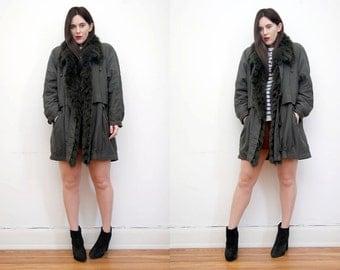 Vintage Fur Real Fur Khaki Parka Coat Parka