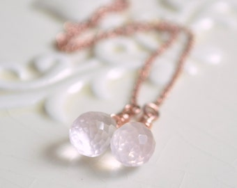 Rose Quartz Earrings, Rose Gold Threaders, Real Gemstone, Ear Threads, Blush Pink Gold, Dainty Jewelry, Free Shipping