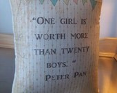 Peter Pan nursery pillow baby shower gift cotton kids room decor Wendy throw pillow J M Barrie quote muslin cushion boho birthday gift