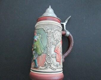 Vintage Thewalt lidded beer stein- Alt-Grenzau 1894
