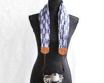 scarf camera strap blue ikat - BCSCS003