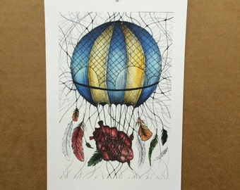 Watercolor/Ink-Anatomy-Heart Air Balloon