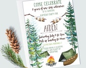 Camping Birthday Invitations - Camping Party - Woodland/Forest - Tent Birthday Invitations