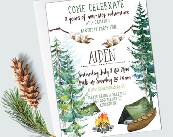 Camping Birthday Invitations - EDITABLE INSTANT DOWNLOAD - Camping Party - Woodland/Forest - Tent Birthday Invitations
