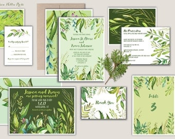 Spring Wedding Invitations-Green Foliage-Botanical Watercolor-Woodland/Forest/Rustic/Watercolor/Save the Date/Garden/Spring Wedding