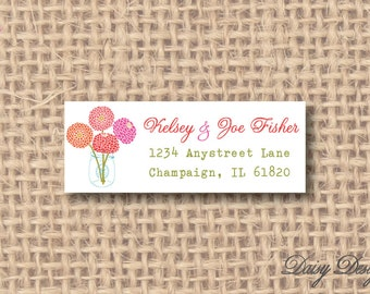Return Address Labels - Chrysanthemums in a Jar - 120 self-sticking labels
