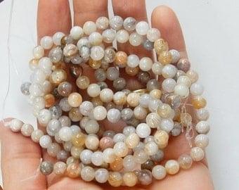 """6mm Flower agate round beads, Full strand  (15.5"""")"""