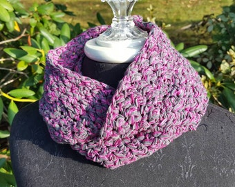 Crocheted ribbon infinity scarf in raspberry and gray