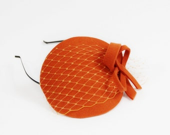 Orange Fascinator with Veil and Bow
