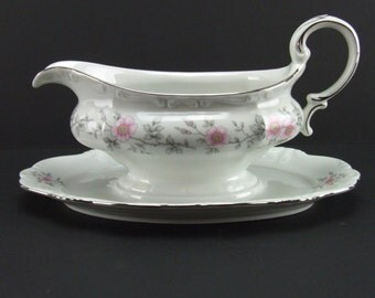 Johann Haviland Louise Gravy Sauce Boat Bavaria Germany Pink Gray Platinum