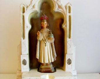 LARGE Vintage Chalkware Infant of Prague Church Grotto - Last Rites - Catholic Statue - P.S.C. Statuary