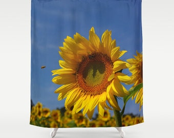 Sunflower Shower Curtain, Nature Photograph, Color Photography, Yellow Gold  Flower, Botanical,